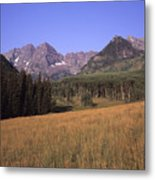 A View Of The Maroon Bells Mountains Metal Print