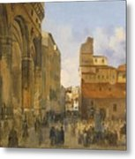 A View Of The Piazza Della Signoria Metal Print