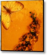 A Vintage Flower Butterfly Metal Print