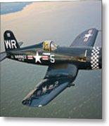 A Vought F4u-5 Corsair In Flight Metal Print by Scott Germain