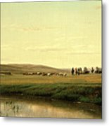 A Wagon Train On The Plains Metal Print
