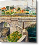 A Walk Along The Canal By Victor Herman Metal Print
