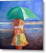 A Walk By The Sea Metal Print