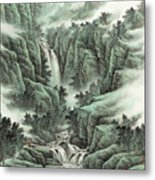 A Waterfall In The Mountains Metal Print