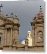 A Well Placed Ray Of Sunshine - Noto Cathedral Saint Nicholas Of Myra Against A Cloudy Sky Metal Print