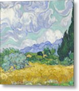 A Wheat Field, With Cypresses Metal Print