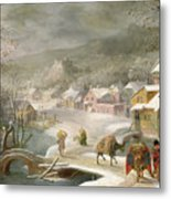 A Winter Landscape With Travellers On A Path Metal Print