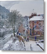 A Wintry Street Scene In Ironbridge Gorge England Metal Print