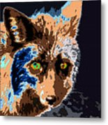 A Wolf Staring Metal Print