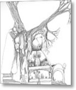 A Woman A Temple A Tree And Some Rocks Metal Print