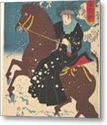 A Woman On Horseback In The Snow Metal Print