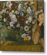 A Woman Seated Beside A Vase Of Flowers Metal Print