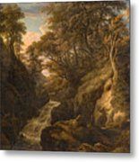 A Wooded Landscape With A Waterfall And A Fisherman Walking Along A Path Metal Print