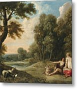 A Wooded Landscape With Venus Adonis And Cupid Metal Print