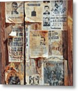 A Wooden Frame Full Of Wanted Posters Metal Print