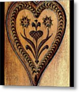 A Wooden Heart Metal Print