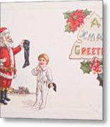 A Xmas Greetings With Santa And Child Vintage Card Metal Print