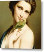 A Young Beauty With A Parakeet Metal Print