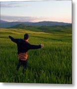 A Young Boy Runs Through A Field Metal Print