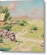 A Young Girl In Summer Landscape Metal Print