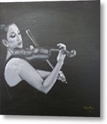 A Young Lady Playing A Violin Metal Print