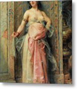 A Young Oriental Girl With A Perfume Burner Metal Print