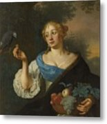 A Young Woman With A Parrot, Ary De Vois, 1660 - 1680 Metal Print