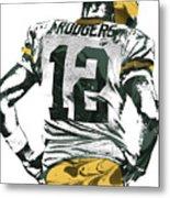 Aaron Rodgers Green Bay Packers Pixel Art 6 Metal Print