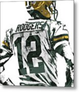 Aaron Rodgers Green Bay Packers Pixel Art 5 Metal Print