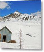 Abandon Building Alaskan Mountains Metal Print