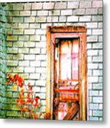 Abandonded Farm Door Metal Print