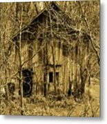 Abandoned Barn In Woods Metal Print
