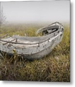 Abandoned Boat In The Grass On A Foggy Morning Metal Print