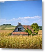Abandoned Corn Field House Metal Print