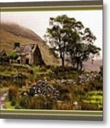 Abandoned Cottage - Scotland H A With Decorative Ornate Printed Frame Metal Print