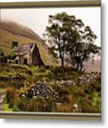Abandoned Cottage - Scotland H B With Decorative Ornate Printed Frame Metal Print