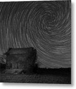 Abandoned House Spiral Star Trail Bw  Metal Print