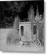Abandoned In The Field Black And White Metal Print