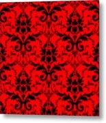 Abby Damask In Black Pattern 02-p0113 Metal Print