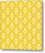 Abby Damask In White Pattern 05-p0113 Metal Print