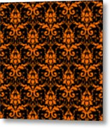 Abby Damask With A Black Background 03-p0113 Metal Print