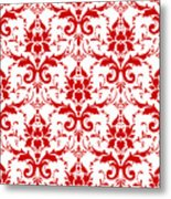 Abby Damask With A White Background 02-p0113 Metal Print