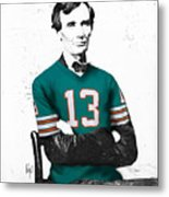Abe Lincoln In A Dan Marino Miami Dolphins Jersey Metal Print