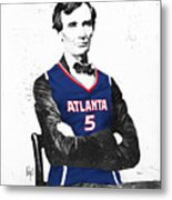 Abe Lincoln In A Josh Smith Atlanta Hawks Jersey Metal Print