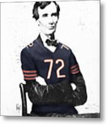 Abe Lincoln In A William Perry Chicago Bears Jersey Metal Print