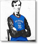 Abe Lincoln In An Kevin Durant Okc Thunder Jersey Metal Print