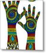 Aboriginal Hands Gold Transparent Background Metal Print