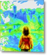 Above The Clouds - A Fantasy Artwork With A Girl Looking Towards Something Mysterious Metal Print