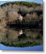 Above The Waterfall Reflection Metal Print