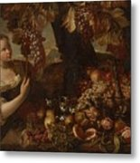 Abraham Brueghel After, Girl With Grapes And Still Life With Fruit. Metal Print